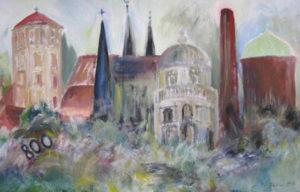 """Bayreuth 94"" 800 Jahre Stadtjubiläum – Brigitte Böhler   Acryl auf Leinwand   Maße: 180 x 110cm   Mindestgebot: 100 Euro   Kontakt: Brigittem.boehler@gmail.com"