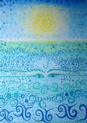 """""""Swim A Little"""" Aus der Serie """"The Bright Side"""" – Astrid Engelbrecht   Ölpastell auf Papier   Maße: 50 x 70 cm (Gemälde)   Mindestgebot: 70 Euro   incl. Holzrahmen, handbemalt, verglast   Website: www.astridengelbrecht.de   Kontakt: astridengelbrecht@web.de"""