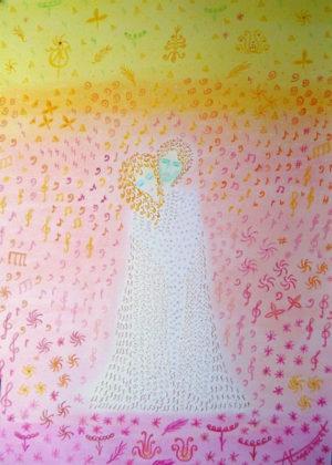 """""""Turn On Your Love Light"""" Aus der Serie """"The Bright Side"""" – Astrid Engelbrecht   Ölpastell auf Papier   Maße: 50 x 70 cm (Gemälde)   Mindestgebot: 70 Euro   incl. Holzrahmen, handbemalt, verglast   Website: www.astridengelbrecht.de   Kontakt: astridengelbrecht@web.de"""