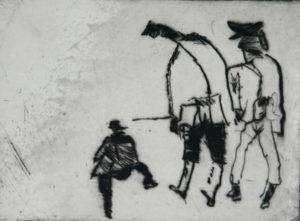 """""""Männer"""" – Werner Froemel   Grafik   Maße: 35 x 28 cm   Mindestgebot: 130 Euro"""