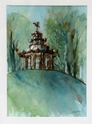 """Chinesischer Pavillon"" – Christel Gollner   Aquarell   Maße: 60 x 51 cm   Website: www.christelgollner.de   Kontakt: mail@christelgollner.de"
