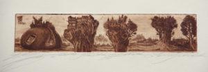 """Landschaft"" – Stephan Klenner-Otto   Radierung   Maße: 29 x 19  Mindestgebot: 100 Euro   Website: www.kulturatlas-oberfranken.de   Kontakt: S.K-O@gmx.de"
