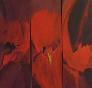 """""""Rot"""" – Carmen Kunert   Acryl auf leinwand   Maße: 3 Objekte, jeweils 20x 60 cm   Mindestgebot: 150 Euro   Website: www.gartenatelier-carmenkunert.de   Kontakt: carmen.kunert@uni-bayreuth.de"""