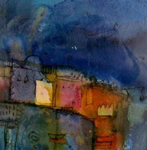 """""""Ich träume mir ein Land"""" – Margit Rehner   Tusche/Aqquarell   Maße: 40 x 40 cm   Mindestgebot: 150 Euro   Website: www.margit-rehner.de   Kontakt: kunst@margit-rehner.de"""