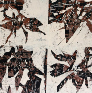 """Botanik 1 "" – Bernd Romankiewitz   Farbholzschnitt auf Leinwand   Maße: 60 x 60 cm   Mindestgebot: 200 Euro   Website: www.kulturatlas-oberfranken.de"