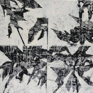 """Botanik 2"" – Bernd Romankiewitz   Farbholzschnitt auf Leinwand   Maße: 60 x 60 cm   Mindestgebot: 200 Euro   Website: www.kulturatlas-oberfranken.de"