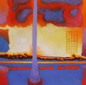 """Fahrenheit 451"" (bei dieser Temperatur entzündet sich Papier selbst) – Hans-Joachim Schmidt-Haude   Acryl / Sand   Maße: 80 x 80 cm   Mindestgebot: 200 Euro   Website: www.galerie-jardin.de   Kontakt: mail@galerie-jardin.de"