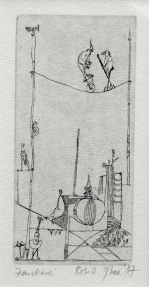 """""""Zauberei"""" – Robert Siebenhaar   Radierung   Maße: 21 x 6,5 cm   mit Rahmen (30 x 40 cm)   Mindestgebot: 70 Euro   Website: www.7haar.de   Kontakt: info@7haar.de"""
