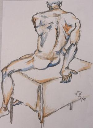 """""""Mann"""" – Annette Taubenreuther   Buntstift / Grafitstift   Maße: 29,7 x 42 cm   Mindestgebot 40 Euro   Website: www.at-design-taubenreuther.de   Kontakt: info@at-design-taubenreuther"""