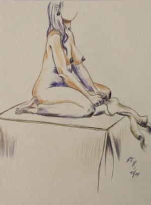"""""""Sitzende"""" – Annette Taubenreuther   Buntstift / Grafitstift   Maße: 36 x 48 cm   Mindestgebot 50 Euro   Website: www.at-design-taubenreuther.de   Kontakt: info@at-design-taubenreuther"""