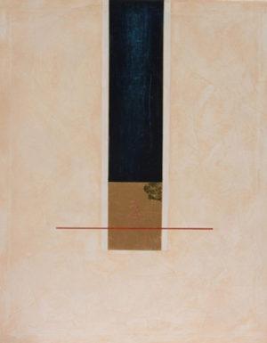 """Thai Median"" – Silvia Luzia Uehla   Acryl, Pigmente, Sand, Tempelgold aus Thailand   Maße: 80 x 100 cm   Mindestgebot 100 Euro   Kontakt: sluehla@gmx.de"
