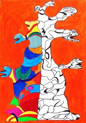 Titel: Der Lebensbaum | Künstler: Michèle Krella | Bildformat: 87 x 63 cm | Technik: Acryl auf Papier | Jahr: 2012 | Preis: 150€ | Katalognummer: 104 |