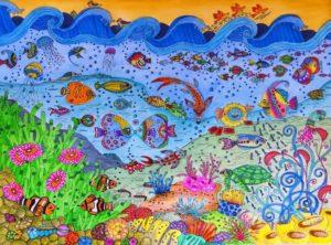 Titel: Die bunte Welt der Fische   Künstler: Ingrid Neuß  Bildformat: 53 x 63 cm   Technik: Aqurell, Künstlertusche   Jahr: 2015   Preis: 110€ l Katalognummer: 96  