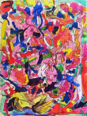 Titel: Irres Farbenspiel   Künstler: Petra Blume   Bildformat: 76 x 56 cm   Technik: Acryl auf Papier   Jahr: 2015   Preis: 130€   Katalognummer: 37  