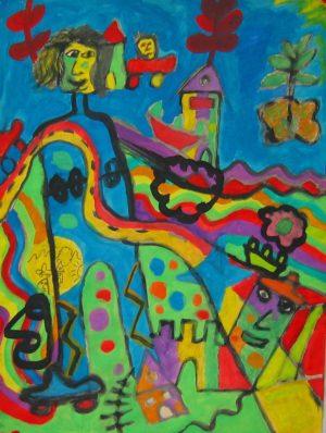 Titel: Palmeninsel mit bunten Smarties | Künstler: Harald Langner | Bildformat: 60 x 50 cm | Technik: Wasserfarben | Jahr: 1996 | Preis: 150€ | Katalognummer: 93 |