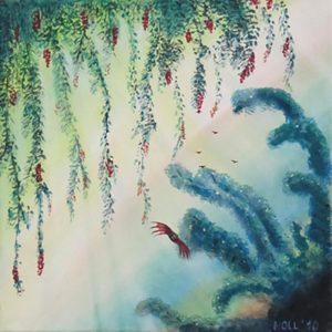 Titel: Symbioseschnapper   Künstler: Birgit Noll   Bildformat: 30 x 30 cm   Technik: Acryl, Leinwand   Preis: 160 €   Katalognummer: 118