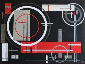 Titel: Geometrisches Chaos   Künstler: Thorsten Wittmer   Bildformat: 30 x 40 cm   Technik: Acryl auf Leinwand   Preis: 180 €   Katalognummer: 120