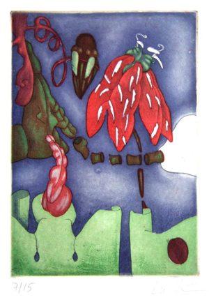 Titel: Erdbeermotte   Künstler: Eva Möseneder   Bildformat: 50 x 40 cm   Technik: Farbradierung   Jahr:   Preis: 80€   Katalognummer: 86  