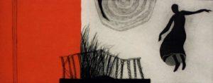 Titel: Mit rotem Quadrat   Künstler: Almut Wöhrle-Russ   Bildformat: 53 x 73 cm   Technik: Farbradierung   Jahr: 2003   Preis: 245€   Katalognummer: 38