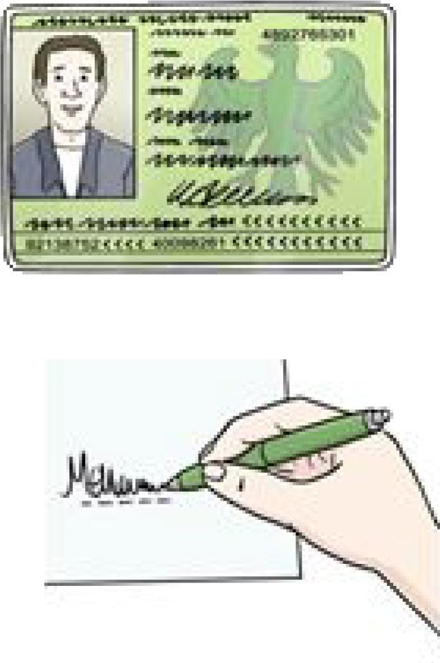Bilbiotheksausweis und Unterschrift