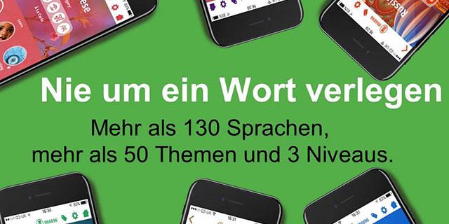 Text auf grünem Hintergrund mit Handys